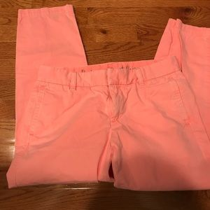 Neon peachy pink JCrew cropped chino.